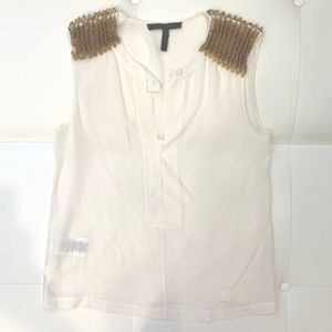 BCBG MAXAZRIA Silk Shoulder Detailed Blouse Sz S